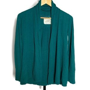 Anthropologie Angel Of The North Teal Cardigan